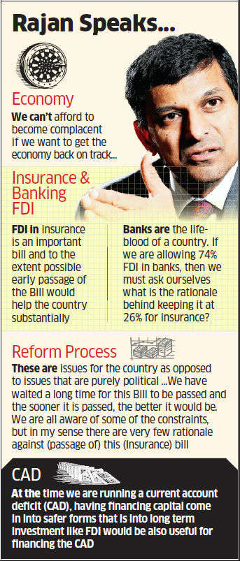 Early passage of FDI in insurance Bill would help the country substantially, says Raghuram Rajan