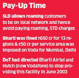 DoT has slapped 100-crore fine on Vodafone India for providing Subscriber Local Dialling (SLD) services in two regions between 2003 and 2005.