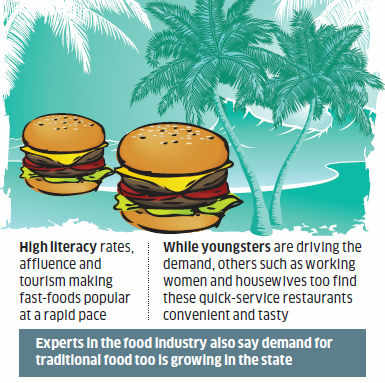 It's most evident in Kochi, the most cosmopolitan city in the state, where fast-food majors McDonald's, KFC and Pizza Hut are doing sizzling business.