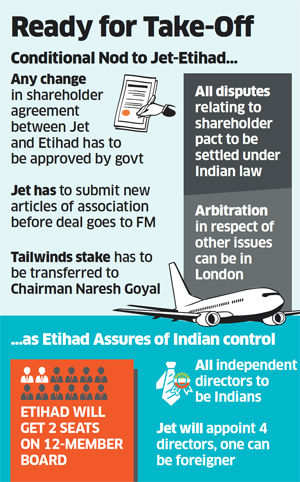 Government clears Jet-Etihad deal with some riders