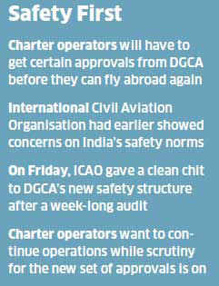 Close to 20 Indian air charter operators will meet the DGCA to request the aviation regulator to lift the recent ban on all their international flights.