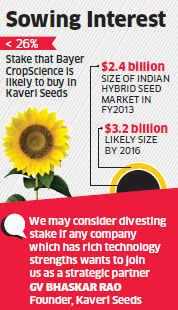 Bayer CropScience may buy under 26% stake in Hyderabad-based Kaveri Seeds