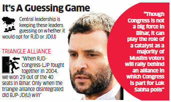 Several top Bihar Congress leaders have requested their high command to revive the triangular alliance comprising RJD, Congress and Ram Vilas Paswan's LJP for the 2014 Lok Sabha elections.
