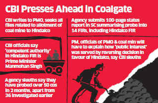 CBI has summoned from the Prime Minister's Office (PMO) all files and correspondence on the controversial coal block allocation to Aditya Birla Group company Hindalco.