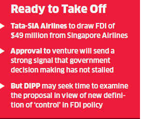 Tata-SIA airline venture likely to get FIPB nod on Thursday