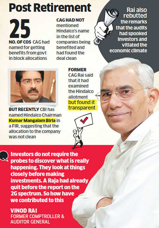 Former CAG Vinod Rai gives clean chit to KM Birla's Hindalco coal block
