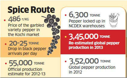 Black pepper rates inching closer to a record Rs 500 per kg