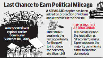 A revised bill, titled 'Communal Violence (Prevention and Control) Act, 2013', will be introduced in the winter session, a senior minister told ET.