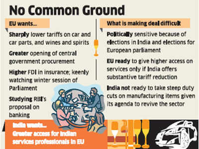 European Union does not see trade pact with India soon
