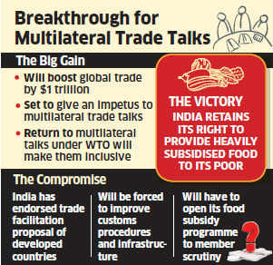 In return, India signed on the dotted line on the trade facilitation measure moved by the developed world while the US had its way on cotton.