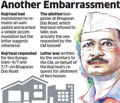 Arvind Kejriwal asked for bungalows he had refused