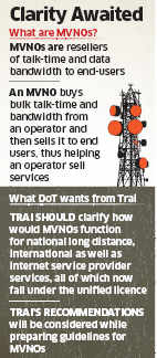 Telecom department seeks regulator's suggestions on MVNO policy
