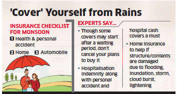 Buy adequate health, home & motor insurance to mitigate any financial loss during rainy season: Experts