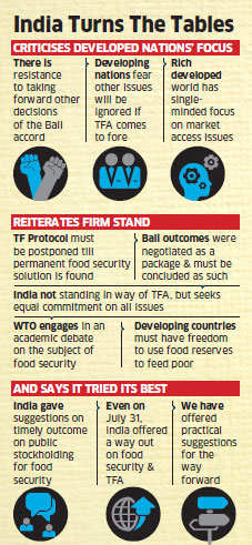 WTO standoff: India regrets unilateral focus of developed nations