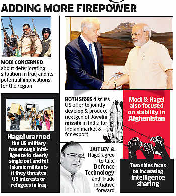 Let us jointly develop arms: PM Narendra Modi to US Defence Secretary Chuck Hagel