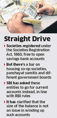 SBI begins to close several society savings bank accounts; policy may hit genuine players