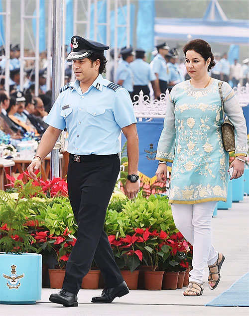 Group Captain Sachin Tendulkar attends Air Force Day parade