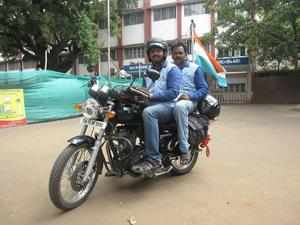 A Jai Ganesh (rider) and D Jagadheeswaran during their journey across Tamil Nadu