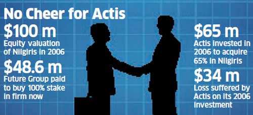 Future Group will own all of Nilgiris. This includes the 65% stake of Actis Capital and that held by the Mudaliar family.
