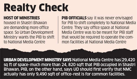 PIB Takes on UD Ministry; against shifting from Shastri Bhawan to National Media Centre