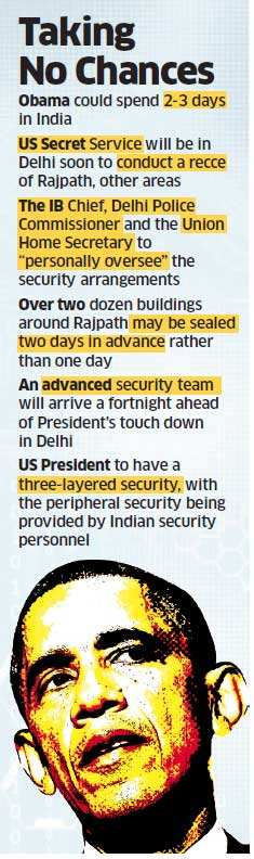 Barack Obama to have a three-layered security during India visit; Home Secretary to oversee arrangements