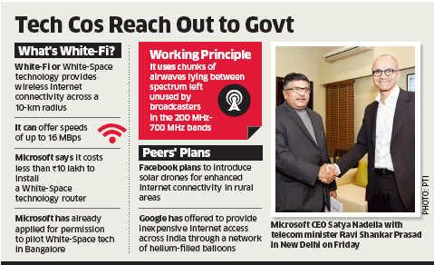 Microsoft CEO Satya Nadella urges Ravi Shankar Prasad to allow White-fi technology to provide Internet in villages