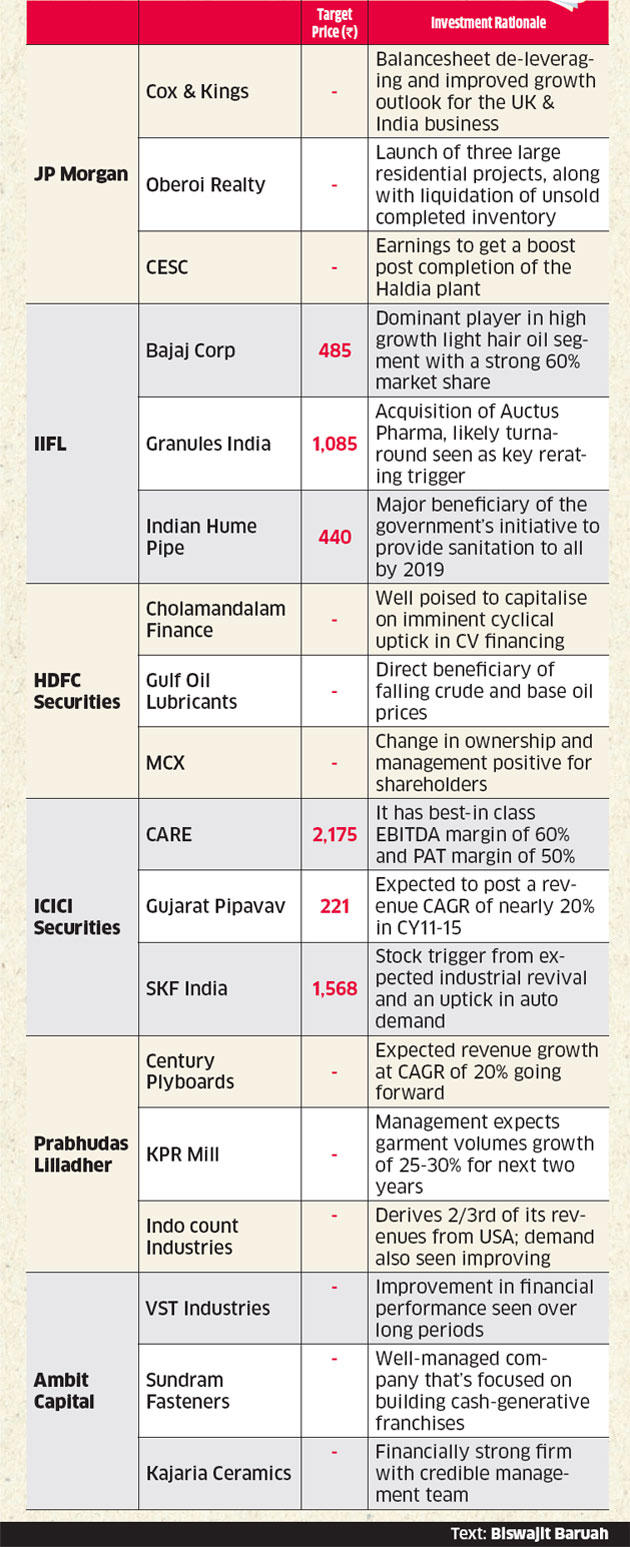 Top midcap stocks for 2015 recommended by brokerage houses such as JP Morgan, HDFC Securities