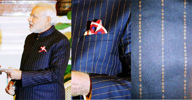 PM Narendra Modi wears bandgala suit striped with his own name