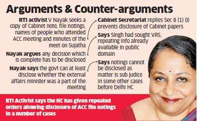 Sujatha Singh's sacking details blocked? Cabinet Secretariat says cabinet papers exempted from disclosure