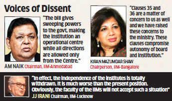 AM Naik & other IIM Directors say Bill will erode institutes' autonomy & drop in standards