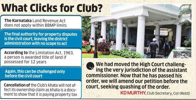 Revenue department has no control over Bangalore Club land
