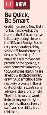 Iranian envoy seeks investment from India, says Delhi should move fast to take early advantage