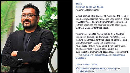 TaxiForSure's Raghunandan G and Aprameya Radhakrishna makes NIT proud