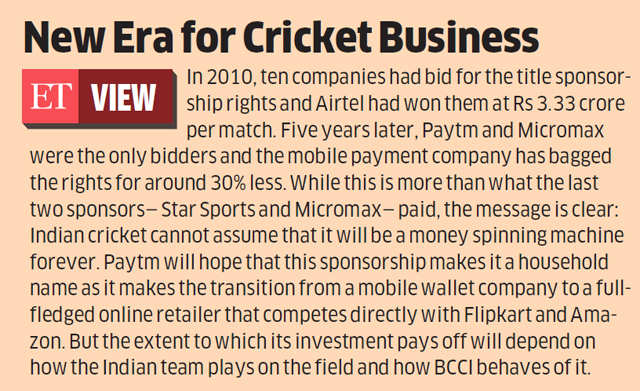 Paytm outbids Micromax to bag title sponsorship for BCCI matches till 2019