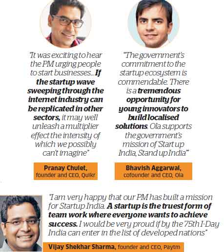 Entrepreneurs give thumbs up to PM Narendra Modi's startup India mission