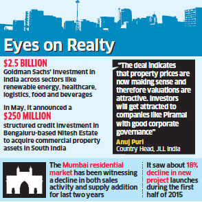 Goldman Sachs picks up minority stake in Piramal Realty for Rs 900 crore