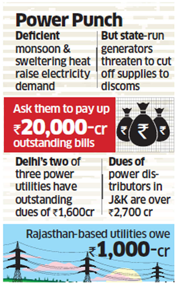 Power outages likely as state run generators ask discoms to clear dues or face supply cuts