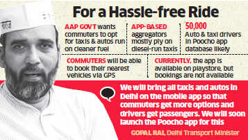 AAP government to push mobile app 'Poocho' to book taxis and autos; to compete with Ola, Uber