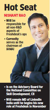 Freshdesk appoints LinkedIn India's MD Nishant Rao as its COO