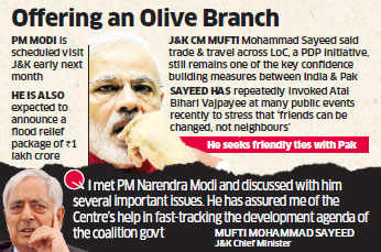 J&K CM Mufti Mohammad Sayeed hints at PM Narendra Modi reaching out to Pakistan