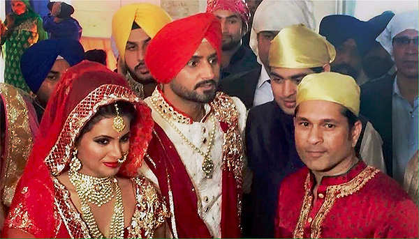 Hitched: Harbhajan Singh ties the knot with Geeta Basra