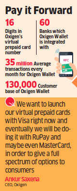 Oxigen in talks with Visa, RuPay to launch virtual prepaid cards