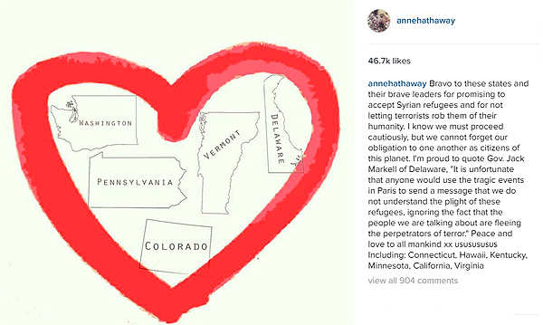 Anne Hathaway applauds US leaders for welcoming Syrian refugees