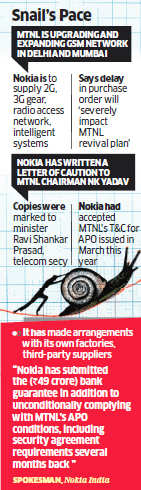 Nokia escalates 2-year buy order delay issue to telecom ministry; warning to MTNL