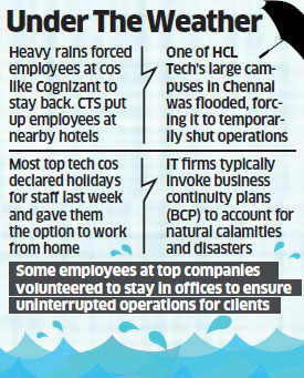Chennai rains leave Tech Inc marooned; firms like IBM, Cognizant, Infosys enforce contingency plans, relocate key staff