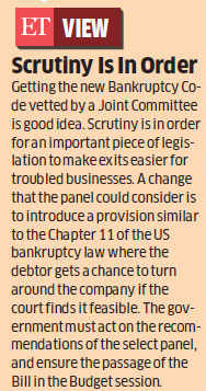 Government sends bankruptcy bill to Joint House Panel; changes tack after GST setback