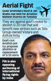 Wadia-owned GoAir opposes scrapping of 5/20 rule that will benefit Tatas' airlines