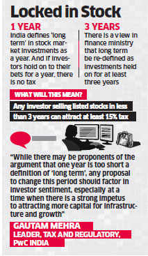Government may raise time frame of  long-term capital gains tax to three years