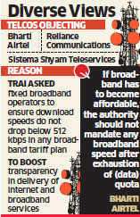 Bharti Airtel, Reliance, oppose Trai directive to ensure minimum net speed at 512 kbps