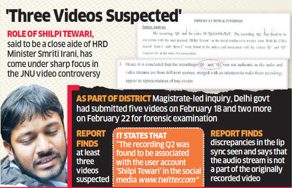 JNU videos doctored: Forensic report; Smriti Irani's aide Shilpi Tewari under lens